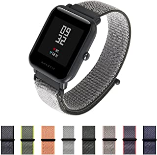 Nylon Sport Loop Band SIKAI 20mm Replacement Nylon Strap Compatible with Amazfit Bip/Huawei Watch 2 Sport/Ticwatch E Breathable with Hook and Loop Fastener Adjustable Closure (Dark Olive)