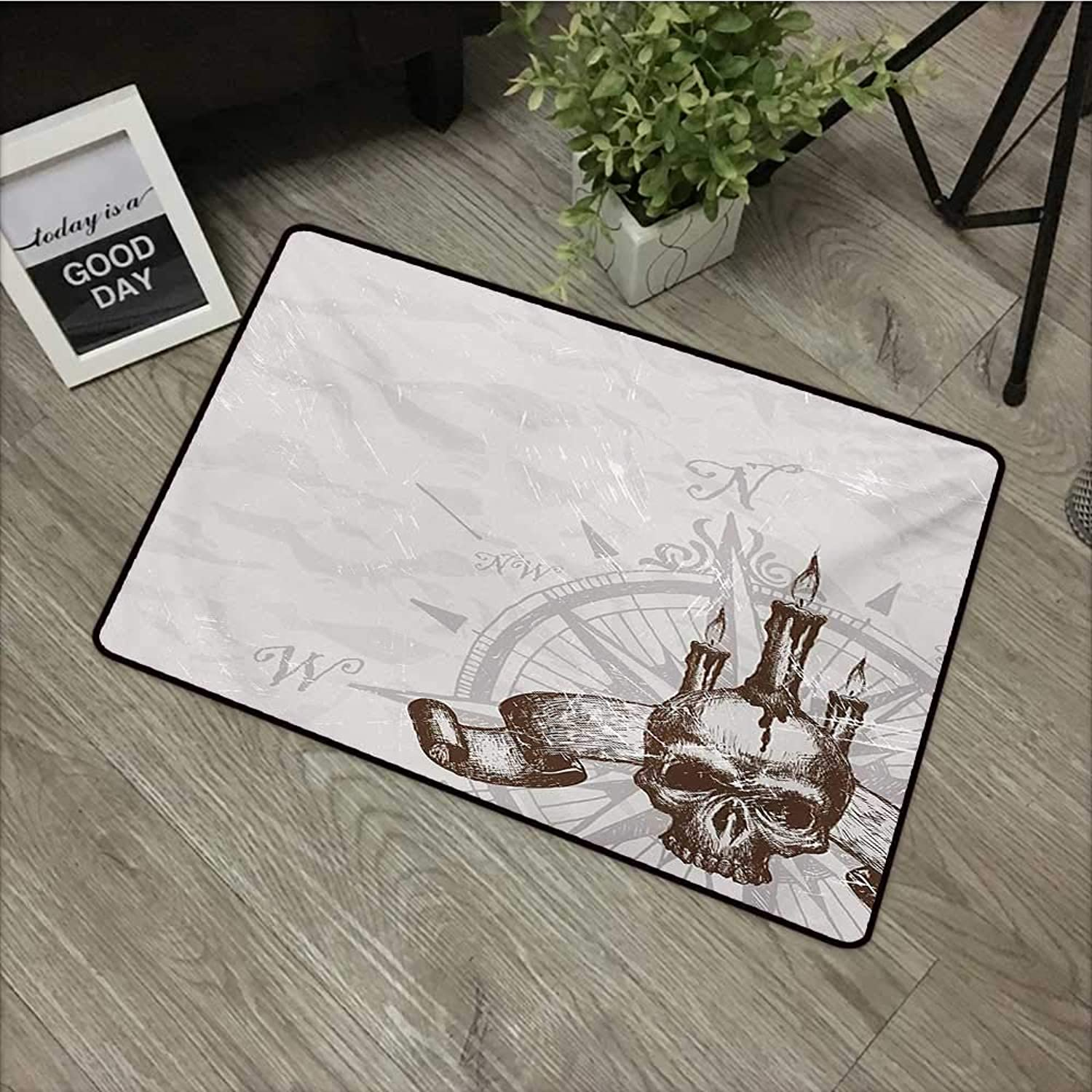 Corridor Door mat W35 x L59 INCH Compass,Compass with Skull and Candles Spooky Adventure New Pirate Destinations Theme,Brown Pearl Grey Non-Slip, with Non-Slip Backing,Non-Slip Door Mat Carpet