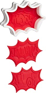 Tovolo Comic Burst, Templates Reverse, Dishwasher Safe, Set of 6 Cookie Stamps with Cutter, Red