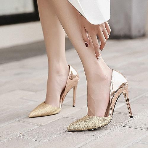 DIDIDD Pointe en Argent Or Fin avec des Chaussures à Talons Hauts Creux Chaussures de Mariage Chaussures Simples Occidentaux,Or,37