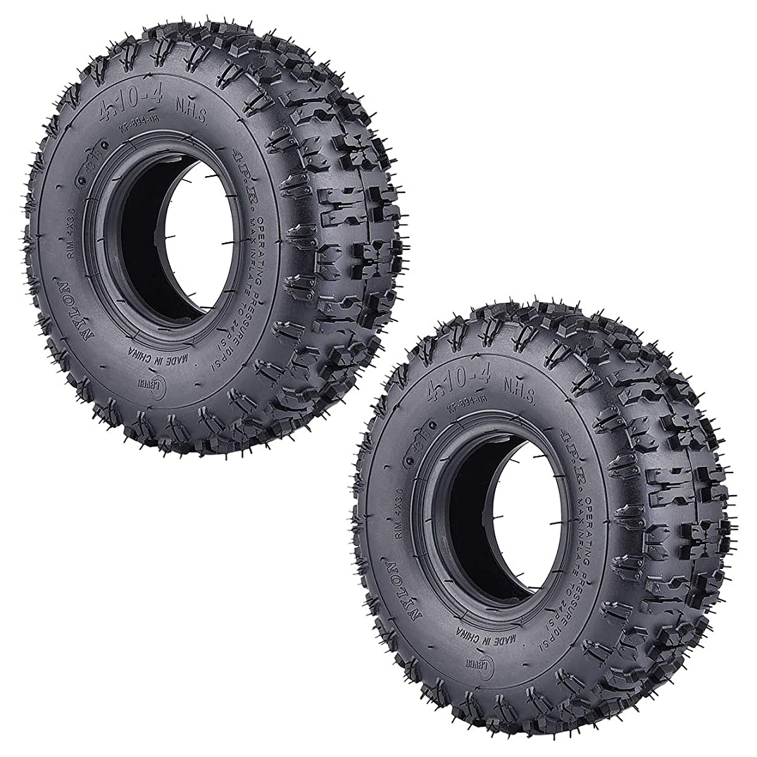 2 Pack of 4.10-4 410-4 4.10/3.50-4 Tires for Garden Rototiller Snow Blower Mowers Hand Truck Wheelbarrow Go Cart Kid ATV