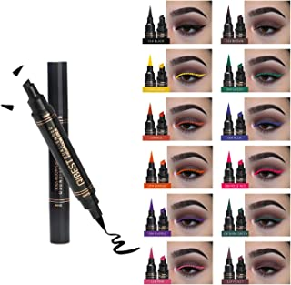 Winged Eyeliner stamp -2 Pens Dual Ended Liquid Eye Liner Pen, Waterproof Long Lasting Smudgeproof No Dripping Eye Makeup Seal Stamp Tool for Wing or Cat Eye - 8mm Classic