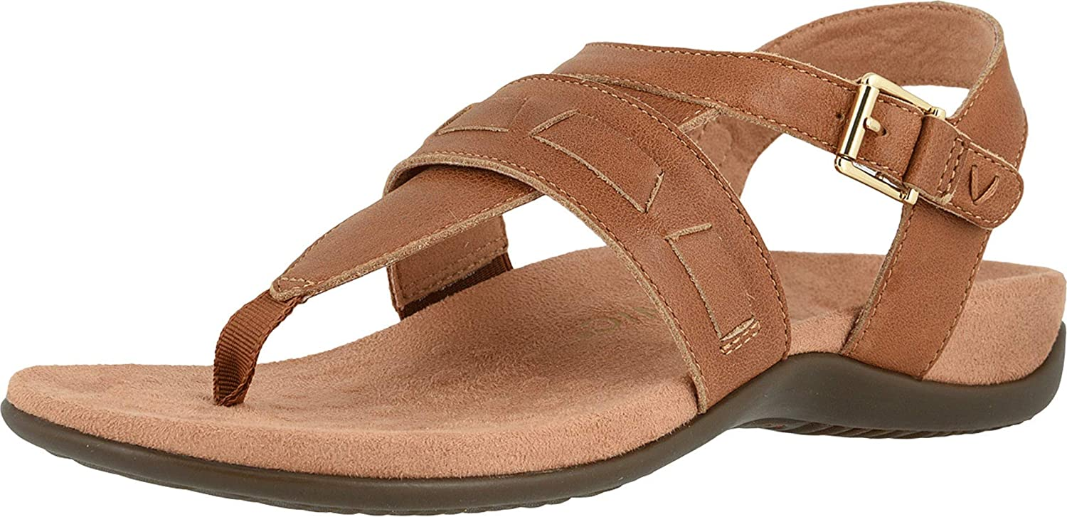 Vionic Women's shipfree Award Lupe Flat Sandal - with Hook Closure Loop and
