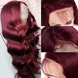 Jiduoyi Hair Burgundy Body Wave Pure 99J Colored Transparent Lace Wig 13x6 Lace Front Human Hair Wigs With Baby Hair Pre Plucked For Black Women 150 Density Glueless Wig 20 Inch