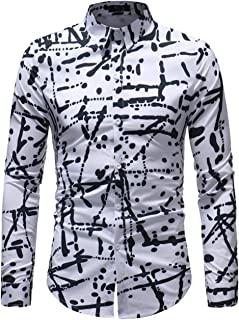 XTAPAN Men Printed Dress Shirt-Slim Fit Long Sleeve Casual Button Down Shirt
