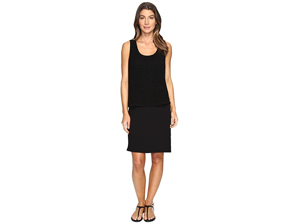 Mod-o-doc Slub Jersey Lace Layover Tank Dress (Black) Women