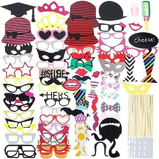 Lictin 86Pcs DIY Photo Booth Atrezzo Favorecer Incluyendo Cómica Divertida Creativa Bigotes Gafas Pelo Arcos Sombreros Labios para el Partido Boda Cumpleaños y La Graduación