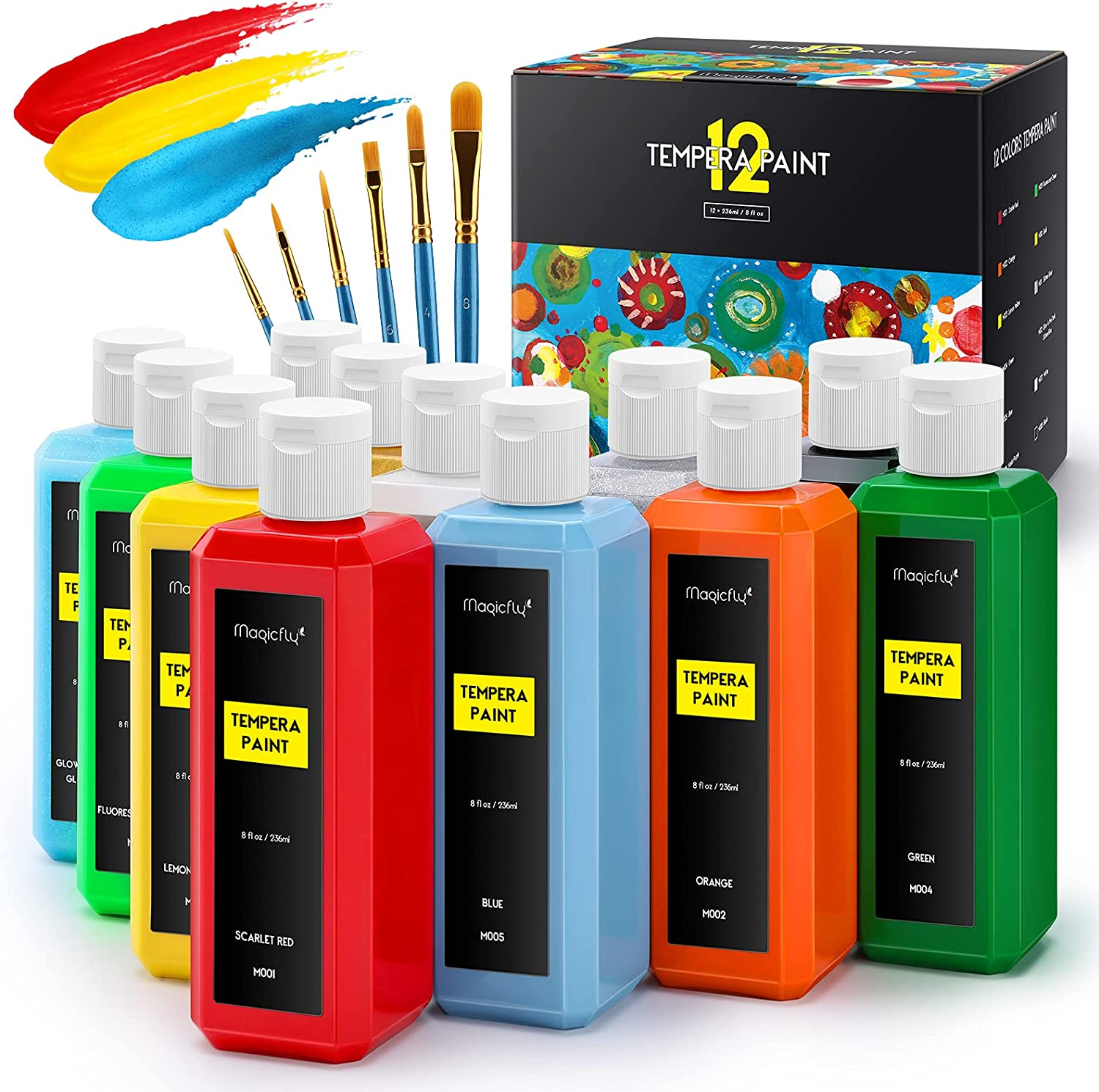 Magicfly Washable Kids Paint Set of 12 Colors ml 236 Max 86% OFF Max 53% OFF 8 oz Tempe
