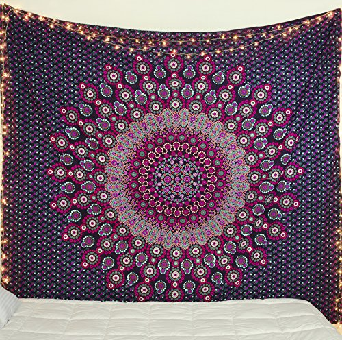Popular Handicrafts Hippie Tapestry Mandala Tapestries Bohemian Psychedelic Indian Bedding Tapestry Wall Hanging Eye Catching Magical Thinking Tapestries 84x90 Inches, Purple