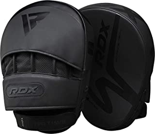 RDX Boxing Pads Curved MMA Focus Mitts Muay Thai Training | Matte Black Convex Skin Leather with Adjustable Strap| Martial Arts Hook and Jab Punching Target Hand Shield