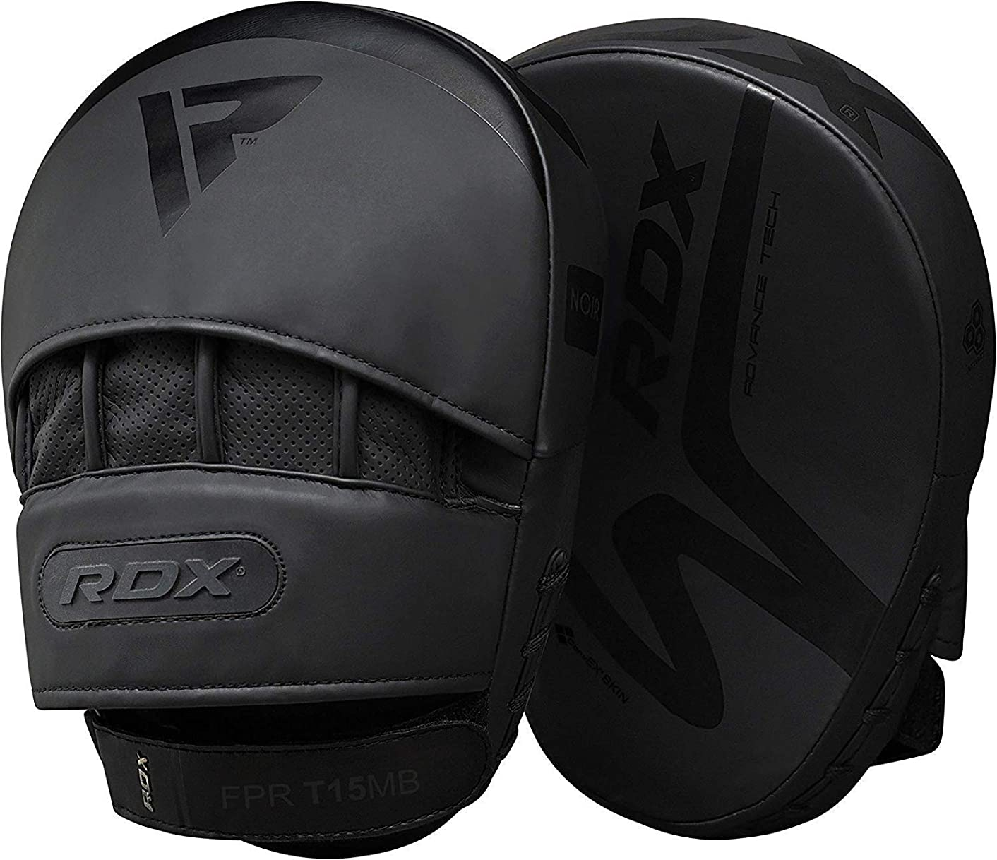 RDX Boxing Pads Curved MMA Focus Mitts Muay Thai Training | Matte Black Convex Skin Leather with Adjustable Strap | Martial Arts Hook and Jab Punching Target Hand Shield