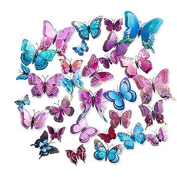 7 Set 3D Schmetterlinge lila bunt Wandtattoo Wanddeko