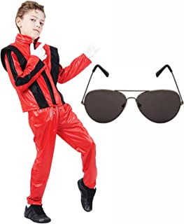 Boys Michael Jackson 80s Fancy Dress Costume with Aviator Sunglasses (7-9 years)
