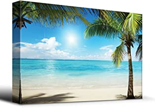 wall26 Tropical Blue Waters Framed by Palms - Canvas Art Home Decor - 24x36 inches
