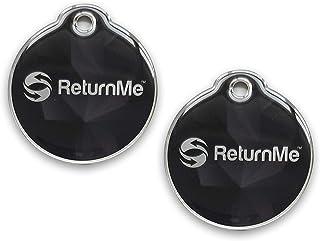 ReturnMe Luggage Tags with Stylish Steel Metal Loop (Black- Pack of 2)