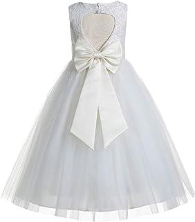 Floral Lace Heart Cutout Ivory Flower Girl Dresses Lace Back Dress First Communion Dresses Baptism Dress