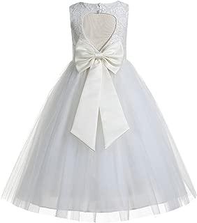 Floral Lace Heart Cutout Ivory Flower Girl Dresses First Communion Dresses Baptism Dress 172T