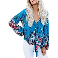 Dellytop Womens Floral Blouses Summer Short Bat Sleeve Tie Front Tops Loose Fitting Shirts