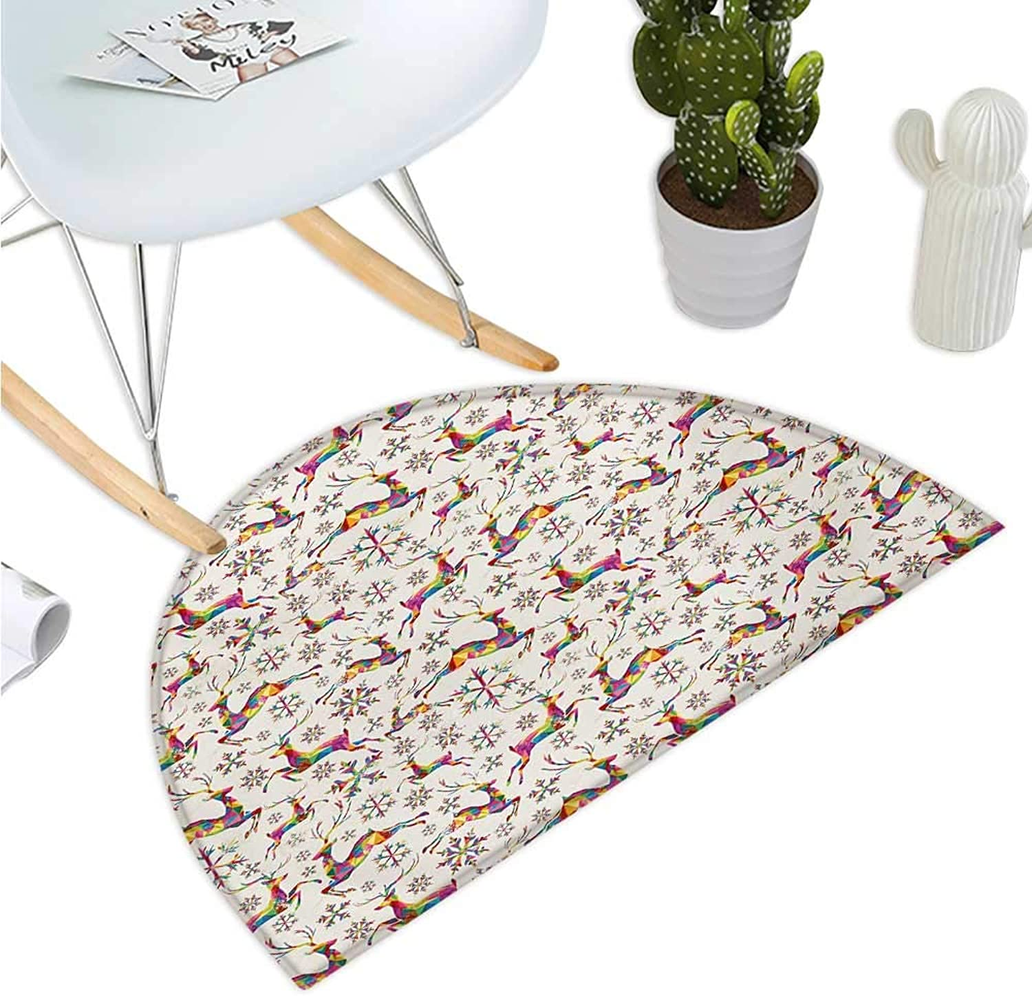 Deer Semicircular Cushion Christmas Themed Rainbow Snowflakes and Animals Pattern Geometric Polygonal Design Bathroom Mat H 51.1  xD 76.7  Multicolor