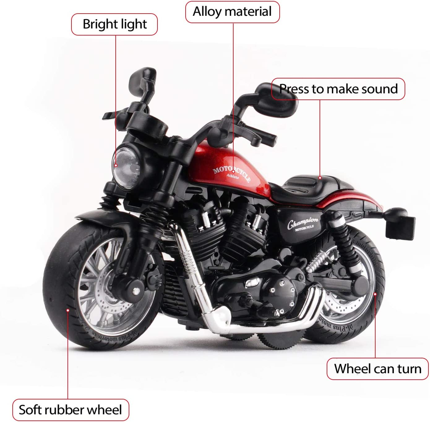 MING YING 66 Pull Back Toy Motorcycle Black Pull Back Toy Cars with Sound and Light Toy,Toy Motorcycles for Toddlers,Motorcycle Toys for Boys Age 2-9