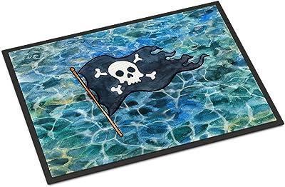Caroline's Treasures Pirate Flag Doormat, 18 H x 27 W, Multicolor