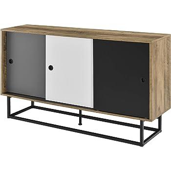 en.casa]® Cómoda con Puerta corredera 140 x 35 x 80 cm Diseño Metal MDF Multicolor: Amazon.es: Hogar