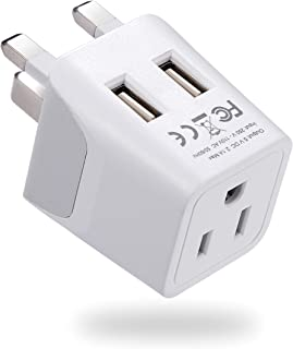 London, Hong Kong, Ireland Travel Adapter Plug by Ceptics - With Dual USB + USA Input - Type G - Ultra Compact - Safe Grounded Perfect for Cell Phones, Laptops, Camera Chargers (CTU-7)