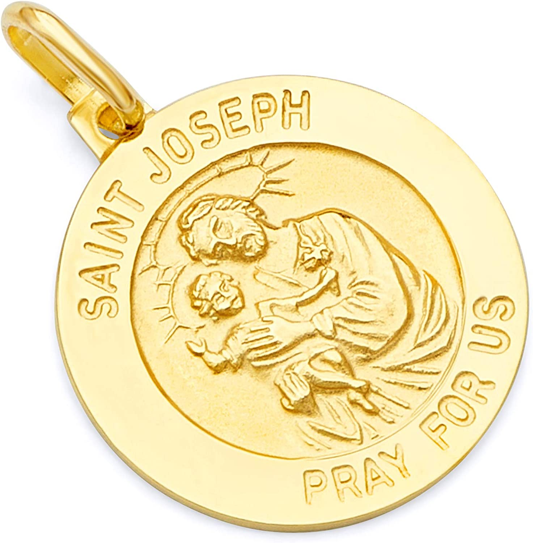 14k Yellow Gold Religious Saint Joseph Medal Charm Pendant - 2 Different Size Available