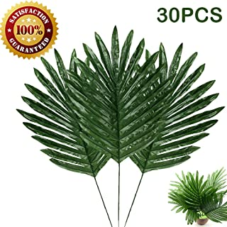 30 Pcs Faux Palm Leaves with Stems Artificial Tropical Plant Imitation Safari Leaves Hawaiian Luau Party Suppliers Decorations,Tiki,Aloha Jungle Beach Birthday Leave Table Decorations