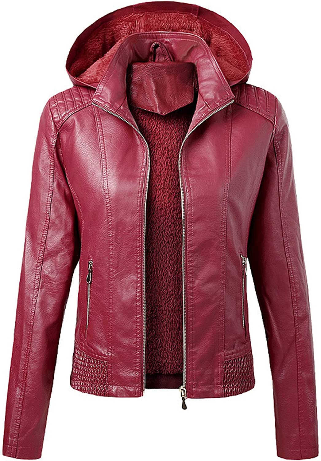 Women Lapel Leather Jacket Windproof Hooded Warm Charlotte Mall Chicago Mall Z Bomber