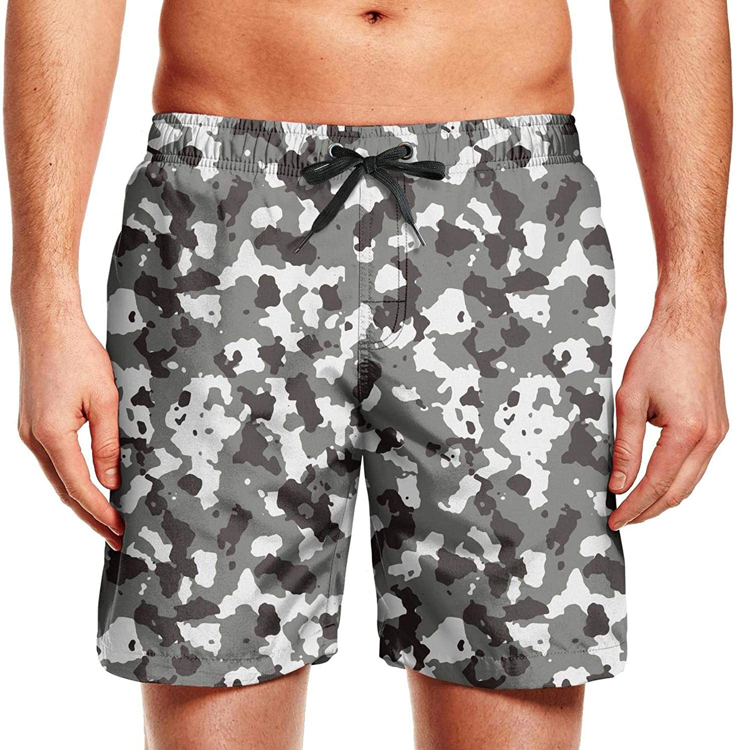 Camouflage Black Gray Men Classic Camouflage Short Outdoor Beach
