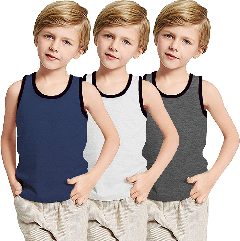 Boyoo Big Boys Youth 3 Pack Tank Tops Cotton Y-Back Sleeveless T Shirts Casual Undershirts