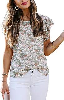 Eytino Women Summer V Neck Floral Print Tank Tops Casual Loose Ruffle Sleeveless Blouse Shirts(S-XXL)