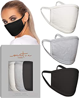 Mulberry Neutrals Knitted Silk Mask in Cream Grey Black by VIRTUE CODE Fabric Face Masks 3 Pieces