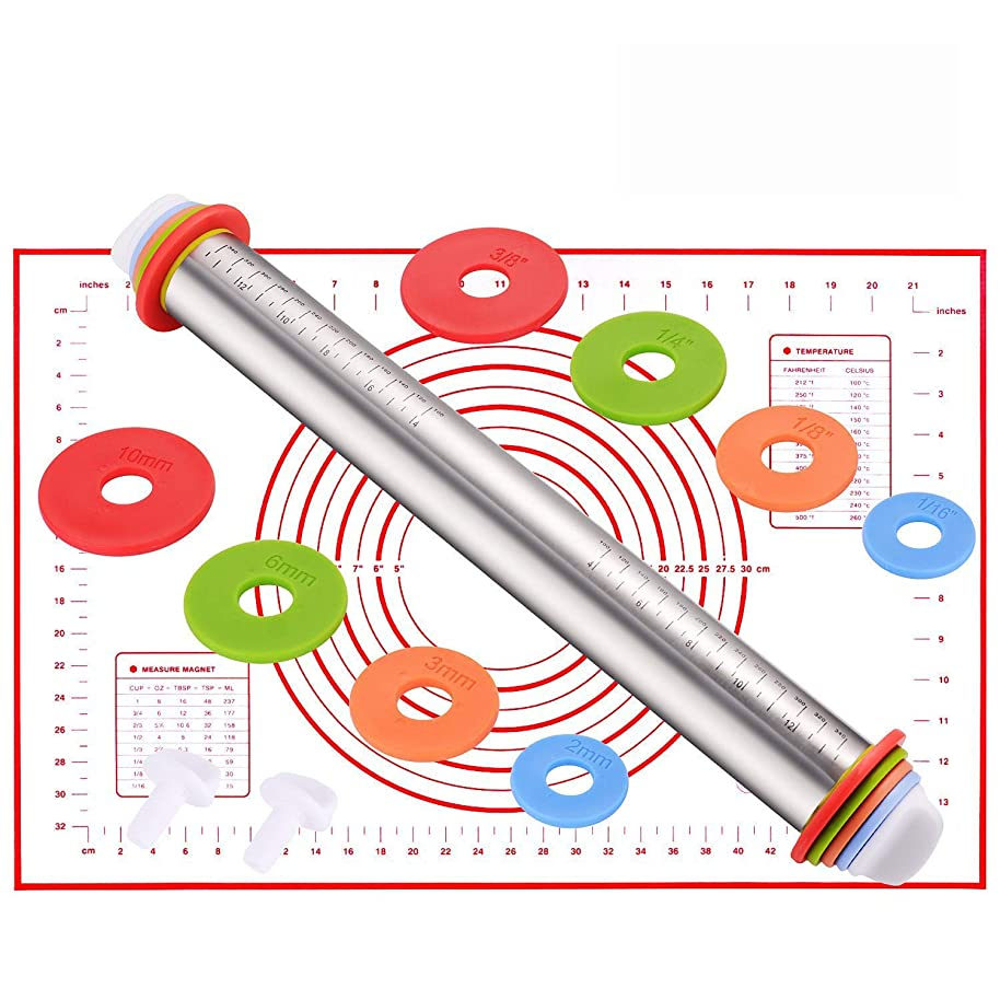 Rolling Pin, EKKONG Stainless Steel Roller Pins with 4 Removable Adjustable Thickness Rings and Pastry Mat for Baking, Pastry, Pizza Pie, Cookie, Fondant Dough