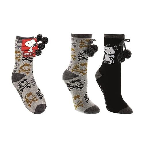 2d8f28f8c1 Peanuts Women s Snoopy Dancing 2-Pack No-Skid Pom Pom Socks