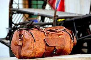 🌞 Sale! KC Handmade Pure Leather Duffel Travel Gym Overnight Weekend Leather Bag Classic Round Eco-Friendly Bag | Duffel Hand Luggage 24"