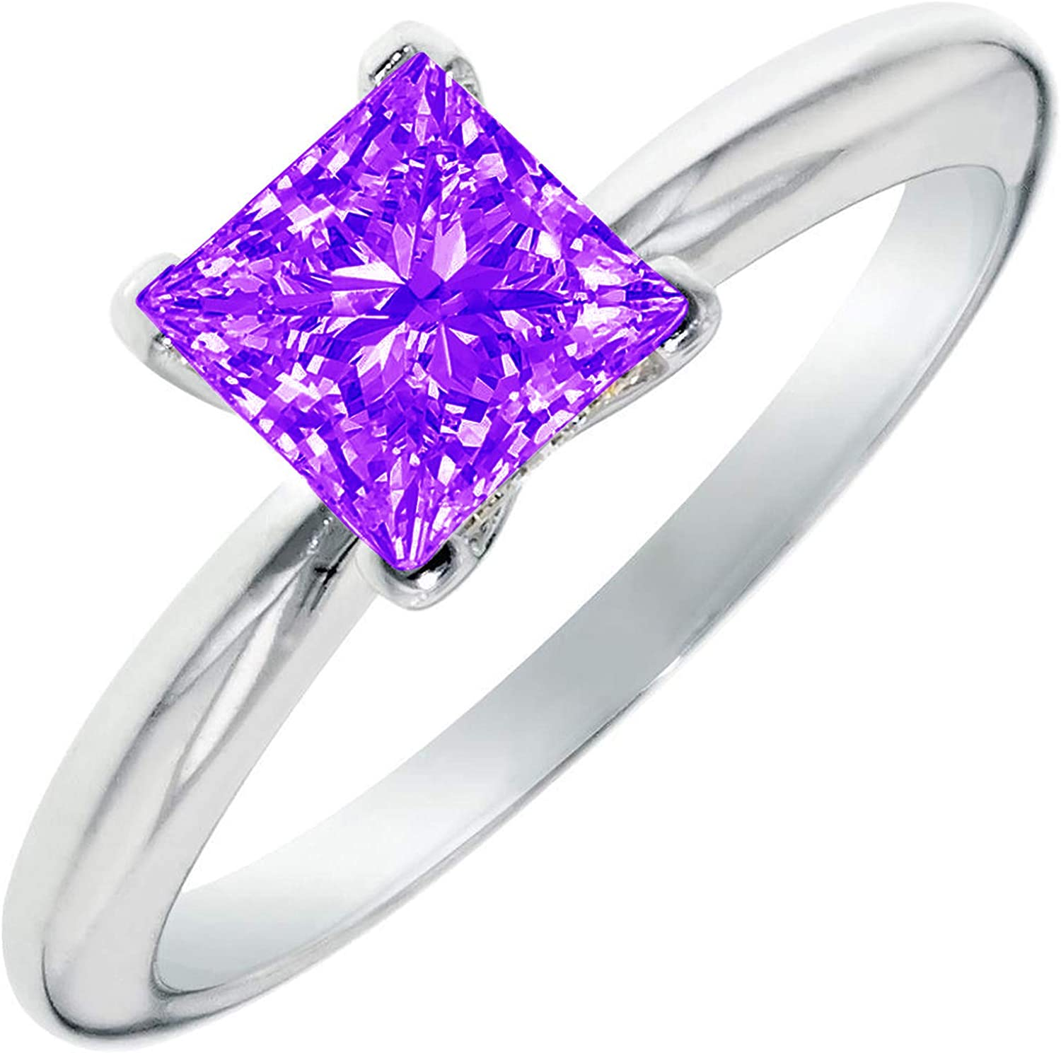0.4ct Brilliant Princess Cut Solitaire Natural Purple Amethyst Ideal VVS1 4-Prong Engagement Wedding Bridal Promise Anniversary Ring Solid 14k White Gold for Women