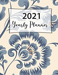 2021 Yearly Planner: Pretty Simple One Year Planner Monthly Calendar Planner Academic Writing for To Do's and Appointments...