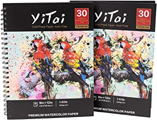 """YiTai 9x12"""" Expert Watercolor Pad, Pack of 2, 60 Sheets (140lb/300gsm), Spiral Bound Artist Drawing Books, Drawing Sketchb..."""