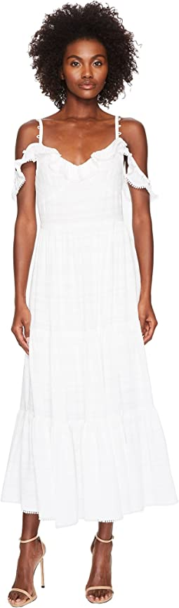 Fluis Jacquard Barre Cold Shoulder Long Dress
