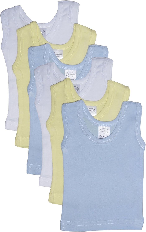 Baby Boy's White, Yellow, Blue Rib Knit Pastel Sleeveless Tank Top Shirt 6-Pack