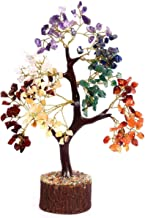Crocon Seven Chakra Natural Healing Gemstone Crystal Bonsai Fortune Money Tree for Good Luck, Wealth & Prosperity-Home Off...