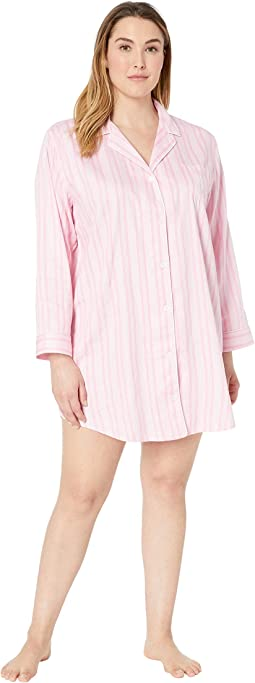 Plus Size Pointed Notch Collar Sleepshirt