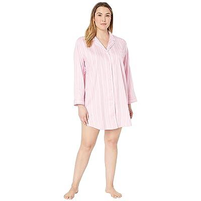 LAUREN Ralph Lauren Plus Size Pointed Notch Collar Sleepshirt (Pink Stripe) Women