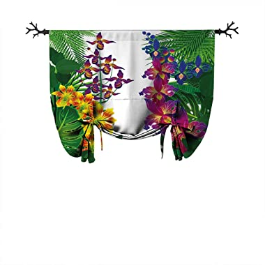 June Gissing Leaf Design darkens Roman Curtains Flower Kahili Ginger Bamboo and Orchid Vivid Colored Tropic Accents Roman Curtains W55 xL55 Purple Yellow and Dark Green