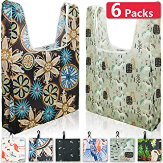 Reusable Shopping Bags Foldable Washable With Keychain Hook for Easy Carrying, Reusable Grocery Bags Durable Ripstop Cloth Grocery Bags Portable Pocket Reusable Bags 6Pack Eco Tote Bags (Pattern)