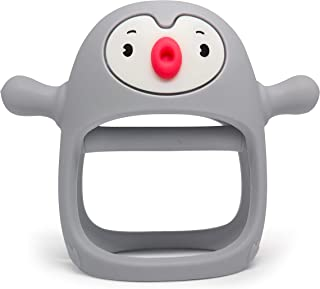 Smily Mia Penguin Buddy Never Drop Silicone Baby Teething Toys for 0-6month Infants, Baby Chew Toys for Sucking Needs, Hand Pacifier for Breast Feeding Babies, Car Seat Toy for New Born. Light Grey
