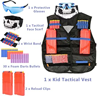 Kids Tactical Vest Kit for Nerf Guns N-Strike Elite Series Gun Wars Accessories with Refill Darts, Reload Clips, Tactical Mask, Wrist Band and Protective Glasses for Boys/Girls Nerf Party Supplies