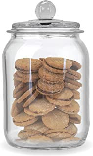 Glass Cookie and Candy Jar with Airtight Lid, Food Storage Jar, Flour and Sugar Glass Canister with Chalkboard Sticker, Set Of 1 (64 ounces))